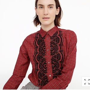J crew holiday plaid embellished button up NWT